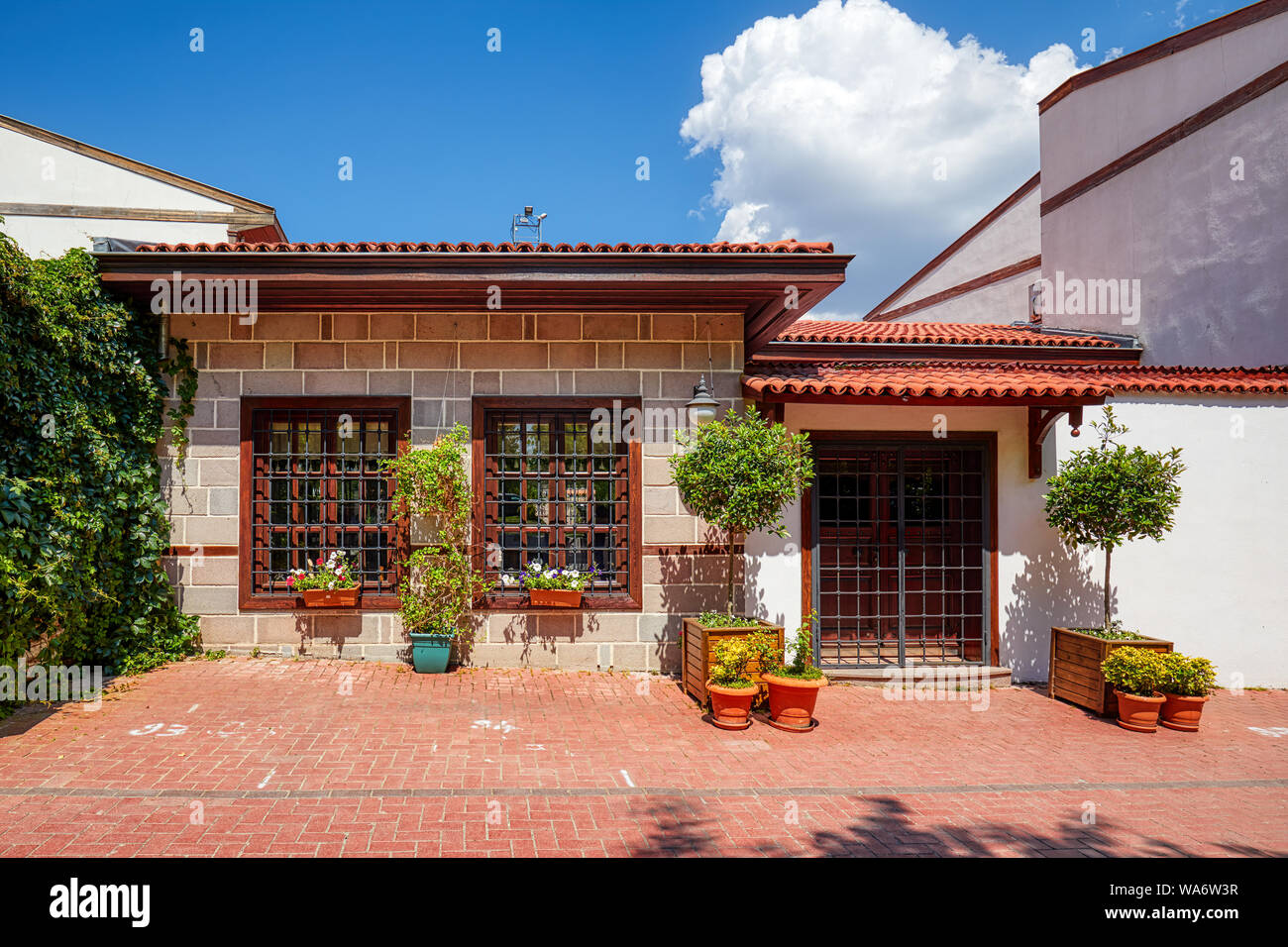 Exterior of historical Turkish restoration houses in Hamamonu district in Altindag, Ankara, Turkey. Stock Photo