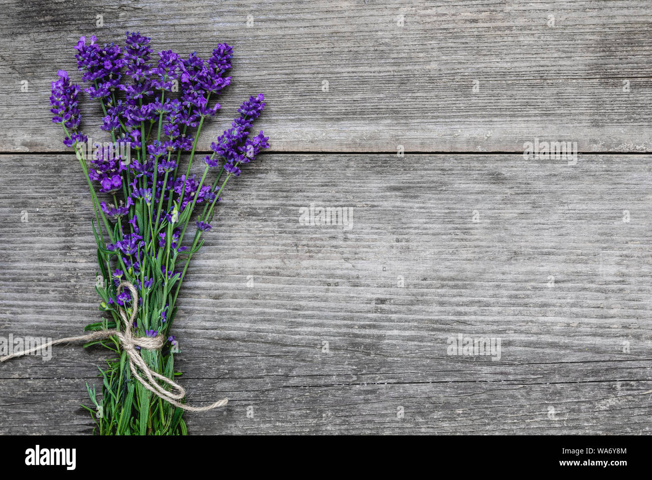 Beautiful Lavender Flowers Bouquet On Rustic Wooden Table With Copy Space For Your Text Top View Flat Lay Wedding Or Womens Day Background Stock Photo Alamy
