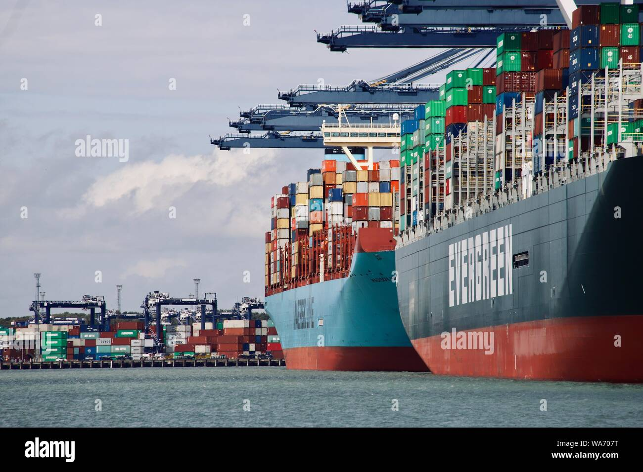 Felixstowe, Suffolk, UK - 18 August 2019: The Evergreen Ever Govern and Maersk Madison container ships at the Port of Felixstowe. Stock Photo