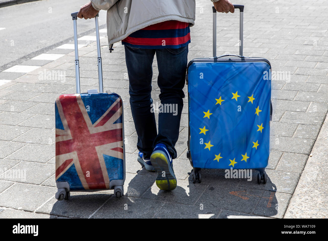 Luggage Tags Union Jack Wheel City Bag Tag for Travel 2 PCS