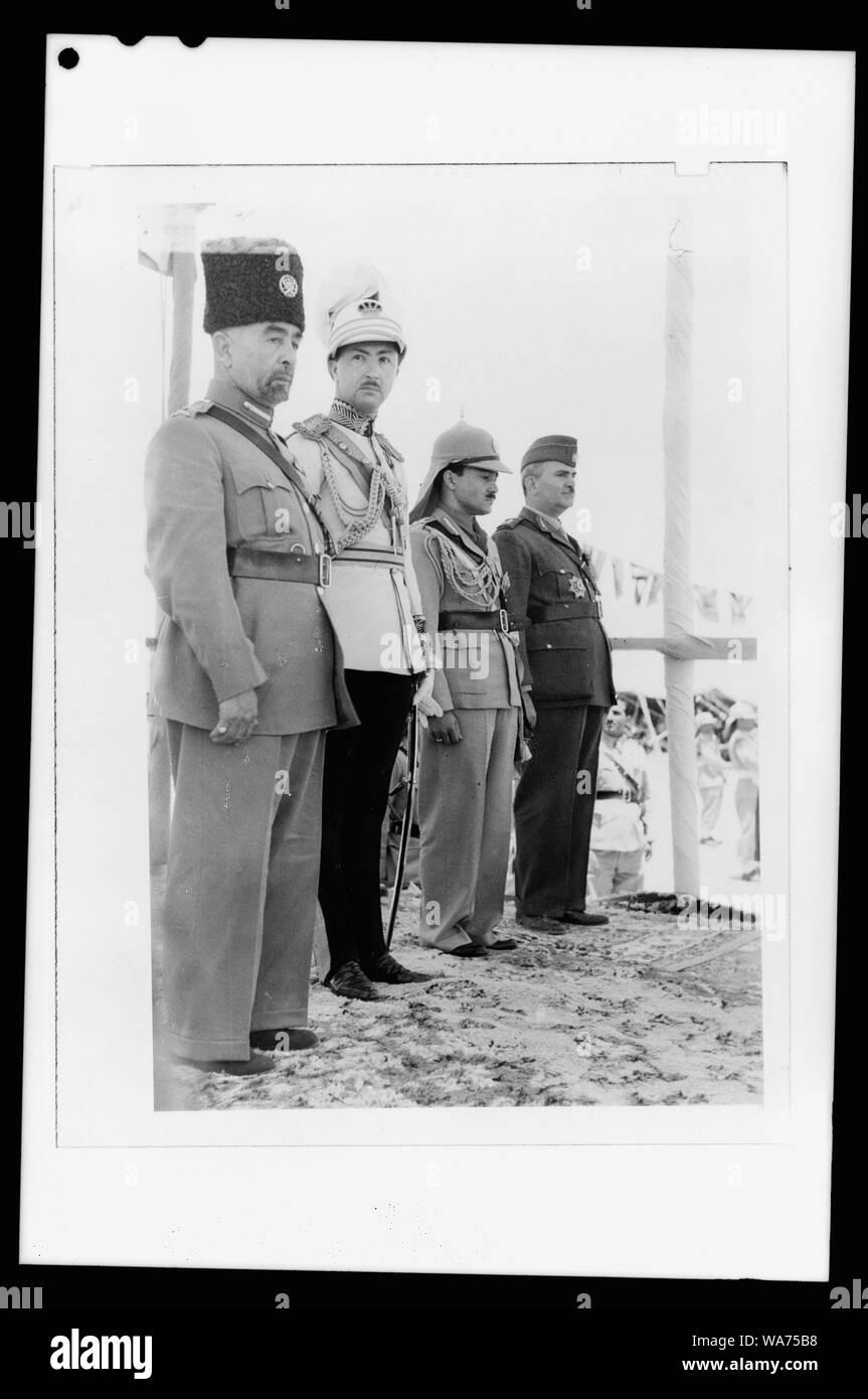 'Coronation' of King Abdullah in Amman on May 25, '46. King Abdullah, Emir Abdul Illah, (Regent of Iraq), Emri Naif, King Abdullah's youngest son and Nuri Pasha Said, Iraqi Ambassador at Large Stock Photo