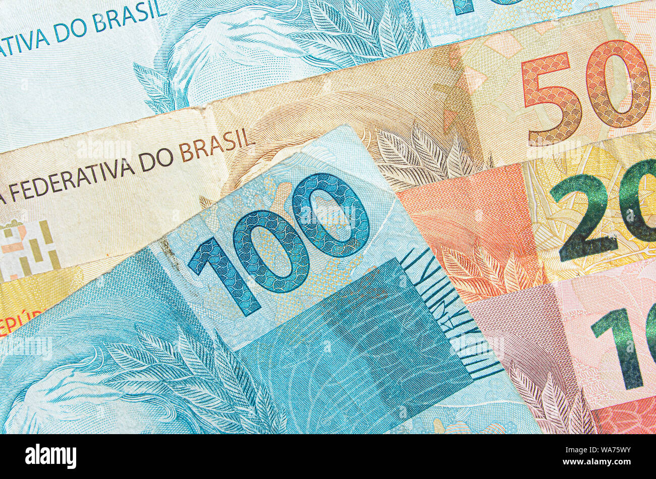 Brazilian real banknotes background. 10, 20, 50, 100 reais brl. Brazilian money, real notes. Macro photo. Stock Photo