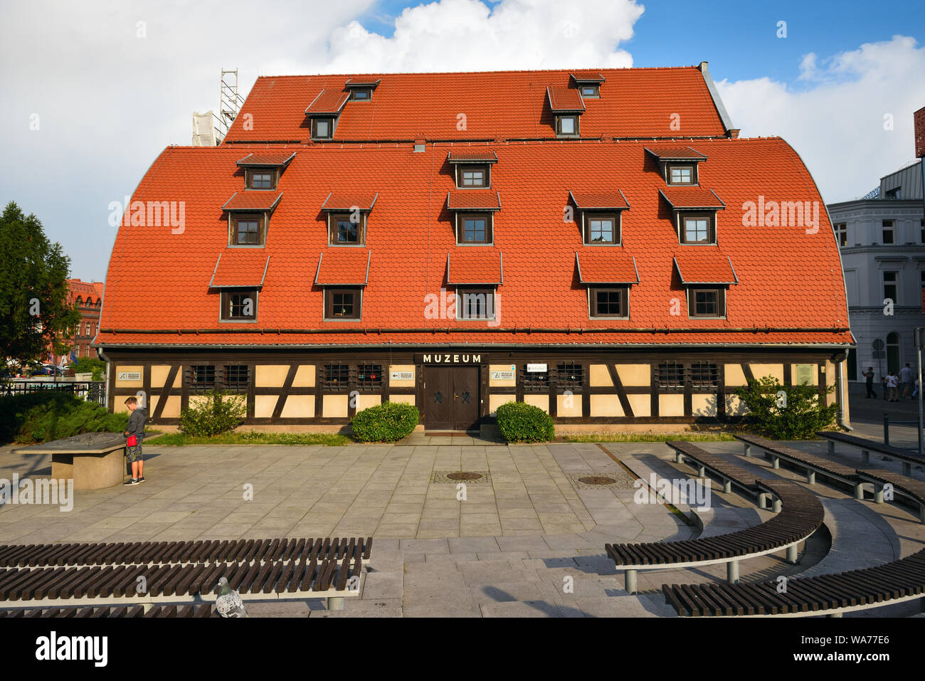 Bydgoszcz Poland - August 16, 2019: Granaries at the Brda River in Old Town of Bydgoszcz Stock Photo