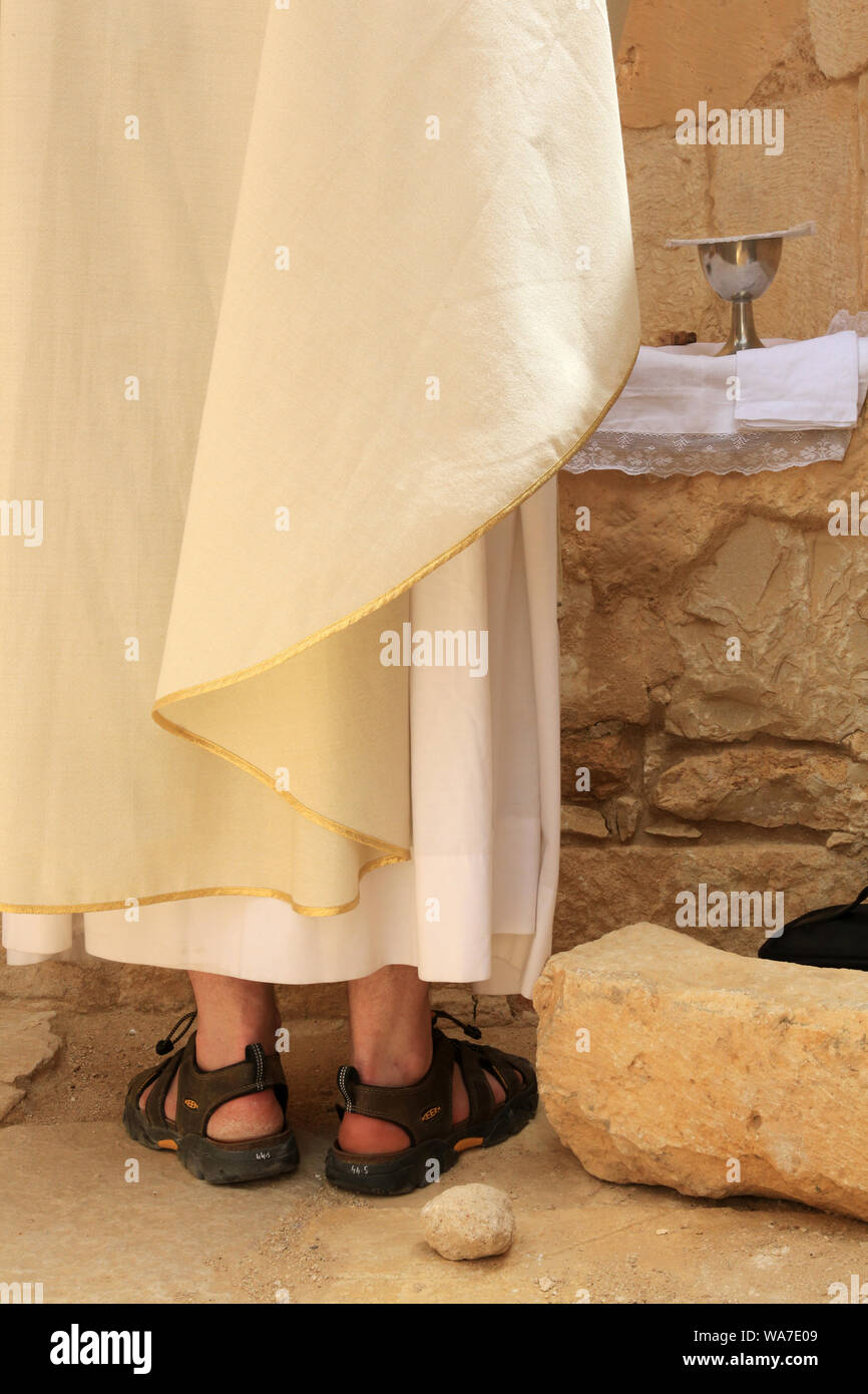 Catholic mass in the southern church. Archaeological site of Shivta. Israël. Stock Photo