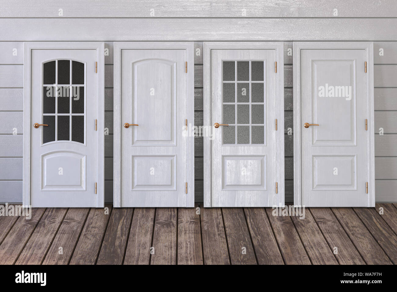 White Doors Of Different Types On White Wooden Background 3d
