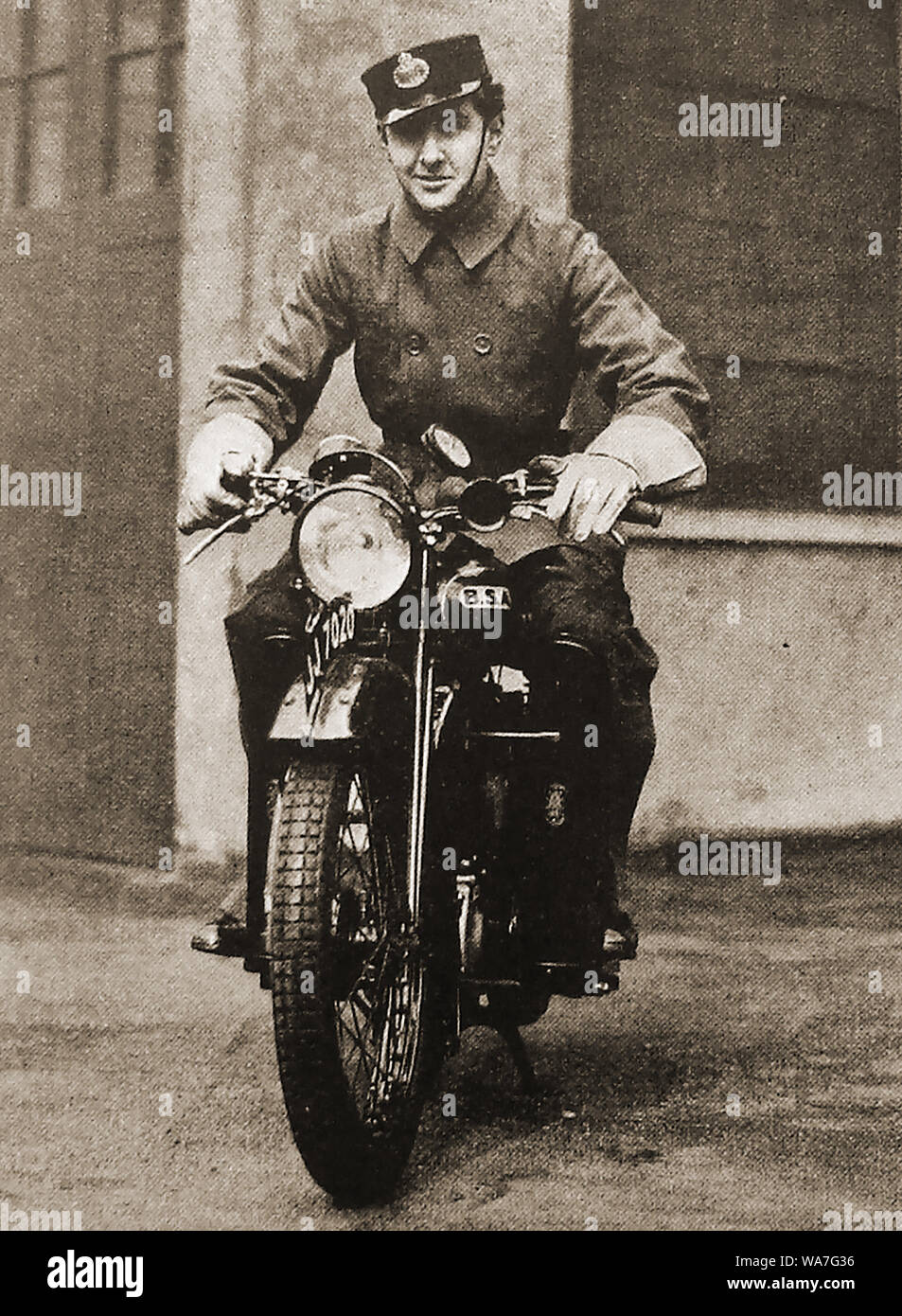 British Post Office GPO motorcycle telegram delivery man c1940's Stock Photo
