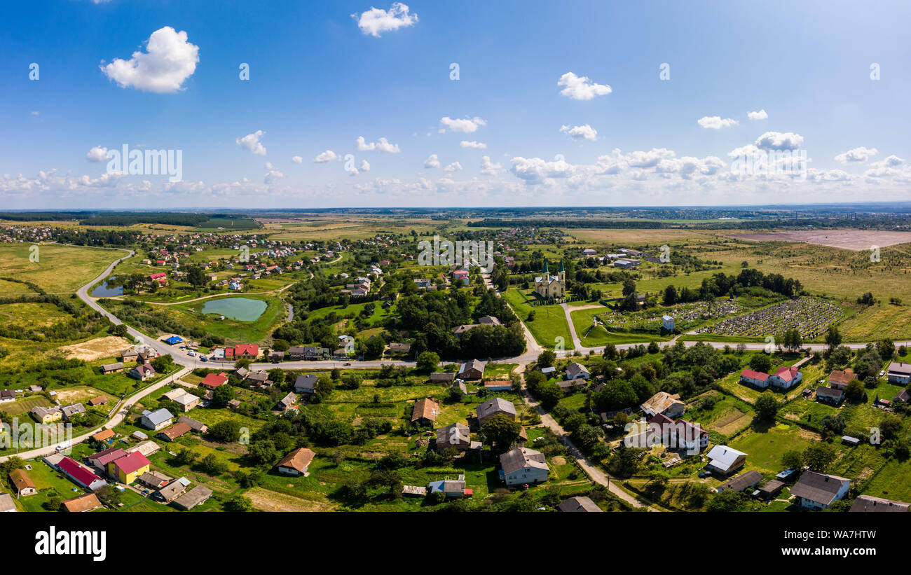 Aerial drone view of traditional Ukrainian village. Countryside it the west of Ukraine. Stock Photo
