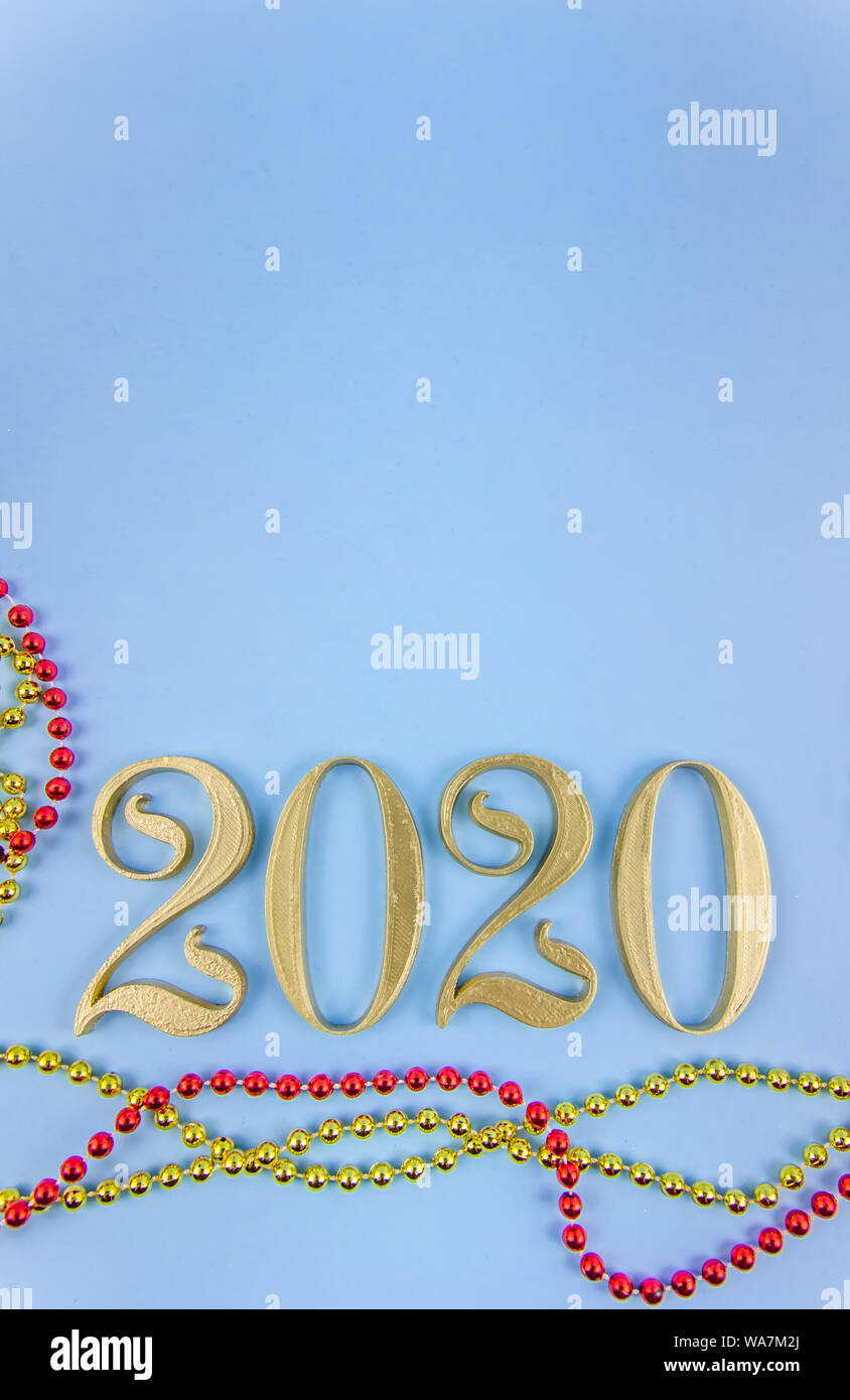New Year 2020  Golden numbers on a blue background  Copy