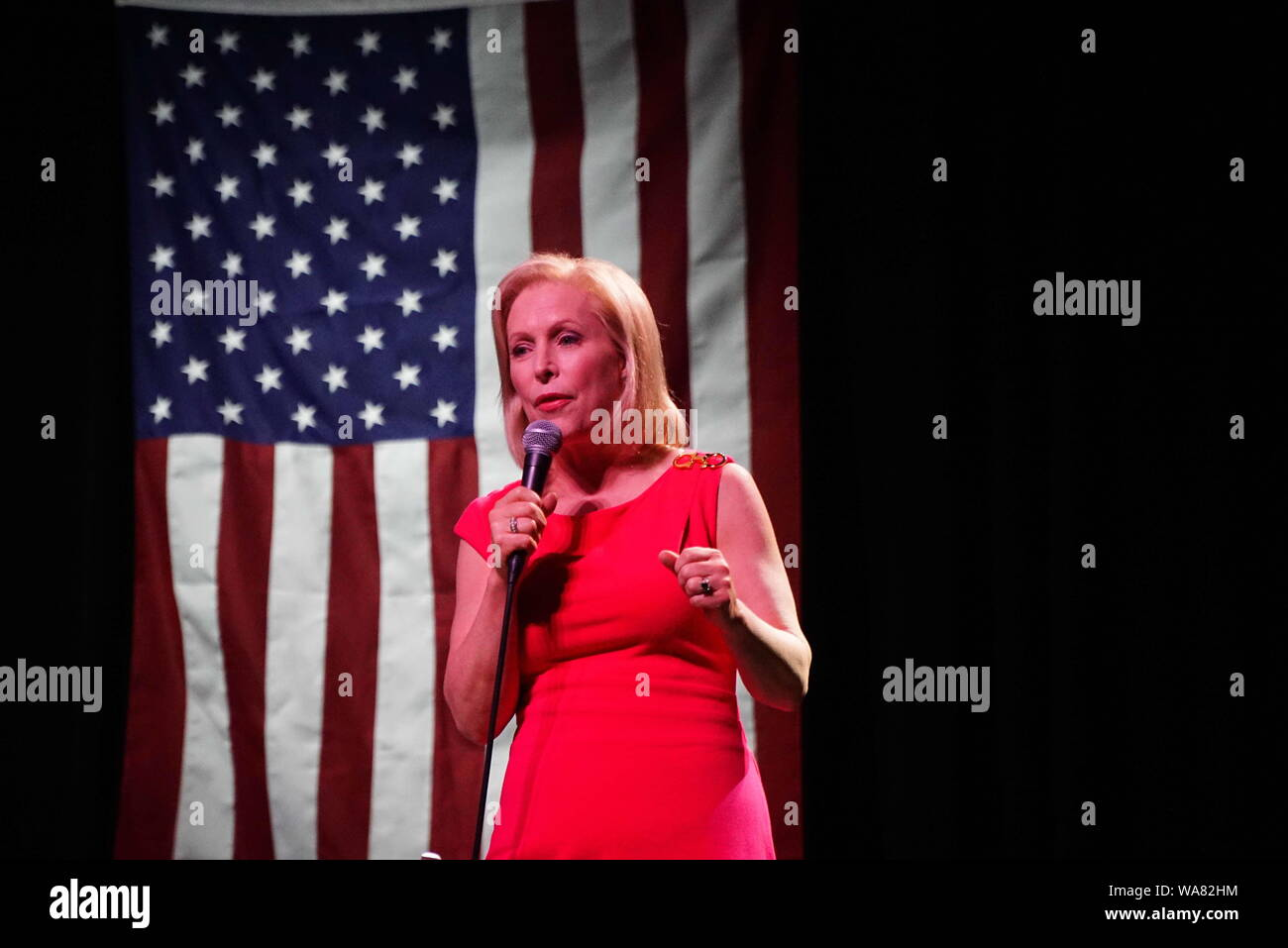 St. Louis, Missouri, USA. 18th Aug, 2019. Presidential Candidate Senator KIRSTEN GILLIBRAND speaks at a town hall meeting in St. Louis, Missouri 10 days before a new restrictive abortion bill becomes law. Credit: Steve Pellegrino/ZUMA Wire/Alamy Live News Stock Photo