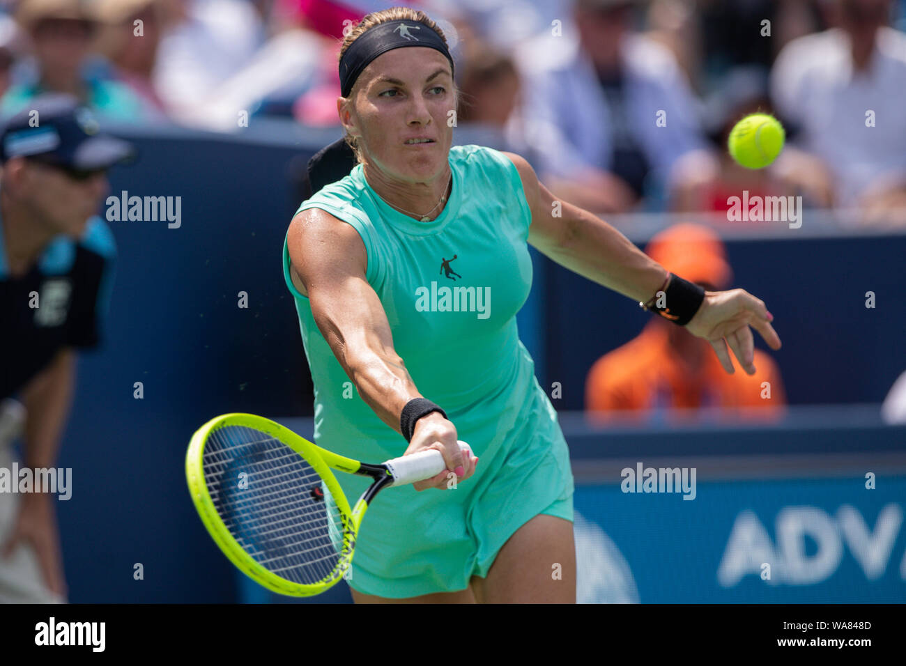 August 18, 2019, Mason, Ohio, USA: Madison Keys (USA) in action during the Women's Final of the Western and Southern Open at the Lindner Family Tennis Center, Mason, Oh. (Credit Image: © Scott Stuart/ZUMA Wire) Stock Photo
