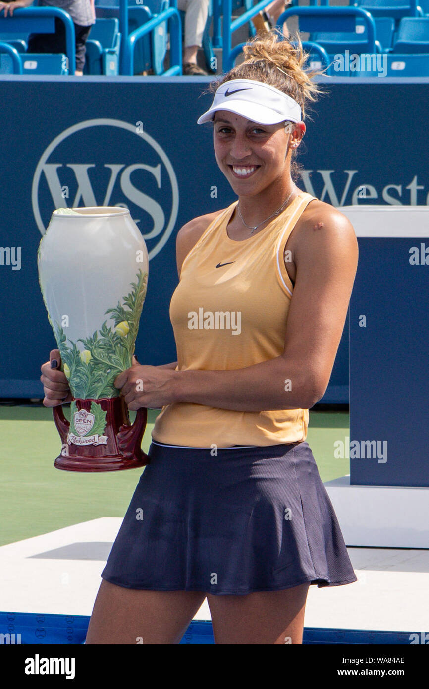 August 18, 2019, Mason, Ohio, USA: Madison Keys (USA) holds the Rookwood Trophy for winning the Women's Final of the Western and Southern Open at the Lindner Family Tennis Center, Mason, Oh. (Credit Image: © Scott Stuart/ZUMA Wire) Stock Photo