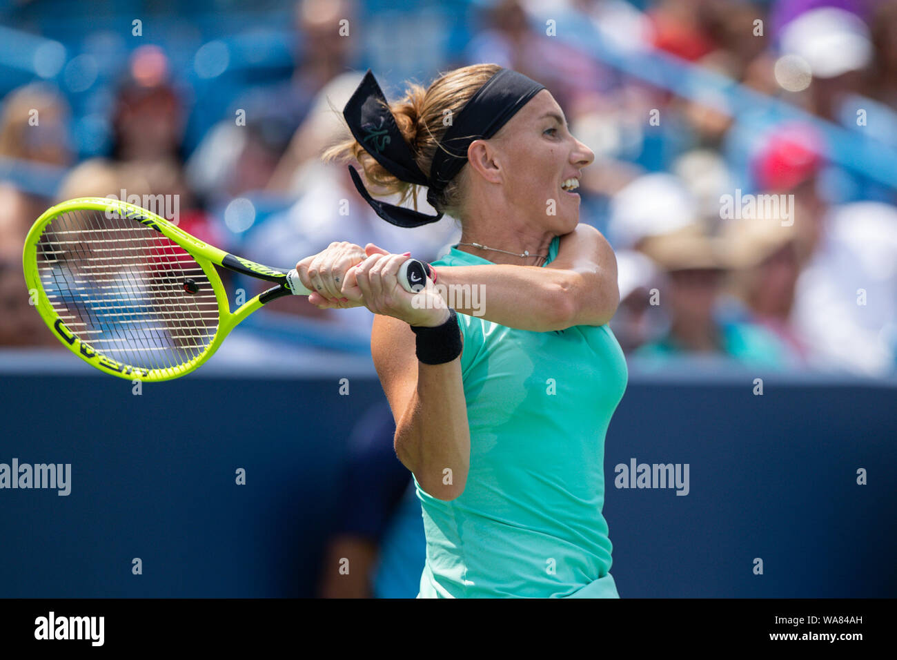 August 18, 2019, Mason, Ohio, USA: Svetlana Kuznetsova (RUS) in action during the Women's Final of the Western and Southern Open at the Lindner Family Tennis Center, Mason, Oh. (Credit Image: © Scott Stuart/ZUMA Wire) Stock Photo
