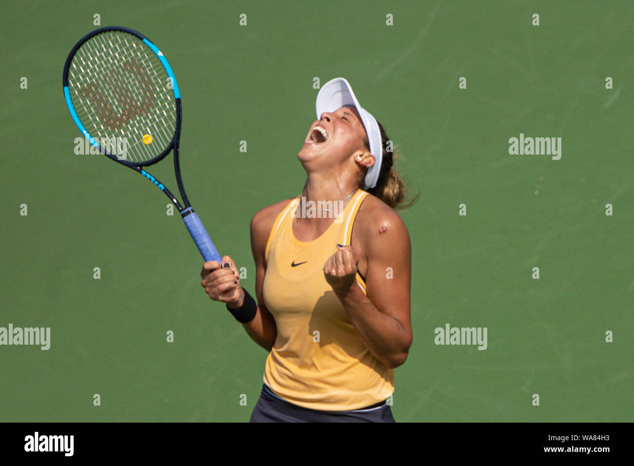 August 18, 2019, Mason, Ohio, USA: Madison Keys (USA) reacts after winning the Women's Final of the Western and Southern Open at the Lindner Family Tennis Center, Mason, Oh. (Credit Image: © Scott Stuart/ZUMA Wire) Stock Photo