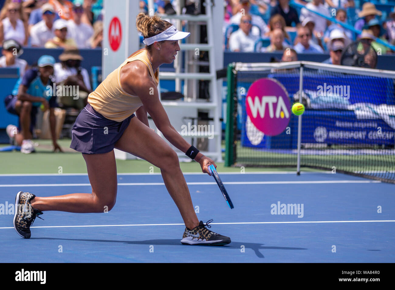 August 18, 2019, Mason, Ohio, USA: Madison Keys (USA) comes to the net to return a shot during the Women's Final of the Western and Southern Open at the Lindner Family Tennis Center, Mason, Oh. (Credit Image: © Scott Stuart/ZUMA Wire) Stock Photo