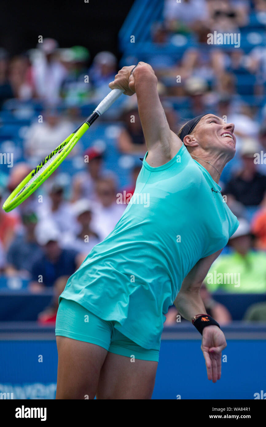 August 18, 2019, Mason, Ohio, USA: Svetlana Kuznetsova (RUS) serves during the Women's Final of the Western and Southern Open at the Lindner Family Tennis Center, Mason, Oh. (Credit Image: © Scott Stuart/ZUMA Wire) Stock Photo