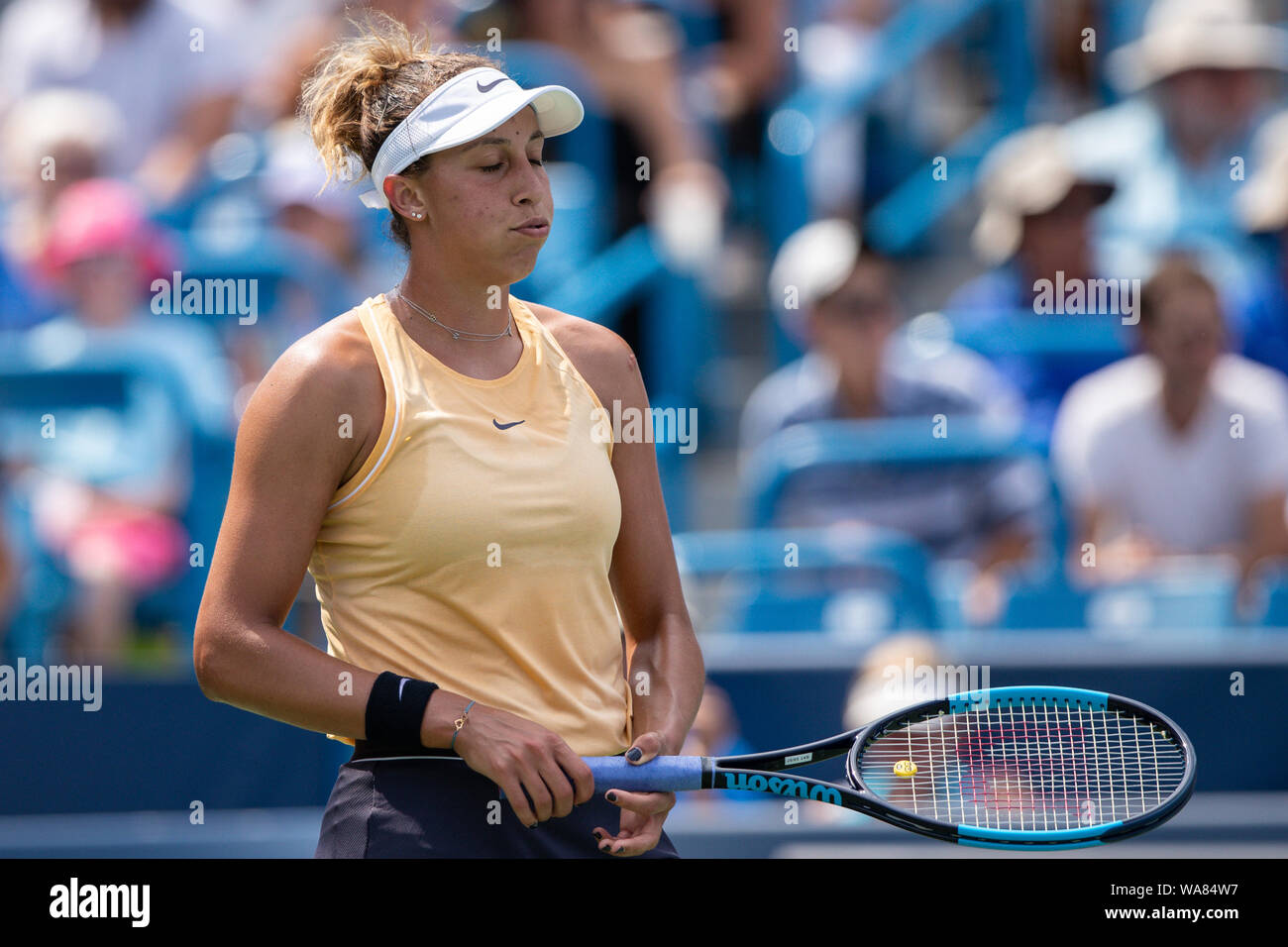 August 18, 2019, Mason, Ohio, USA: Madison Keys (USA) reacts to a shot during the Women's Final of the Western and Southern Open at the Lindner Family Tennis Center, Mason, Oh. (Credit Image: © Scott Stuart/ZUMA Wire) Stock Photo