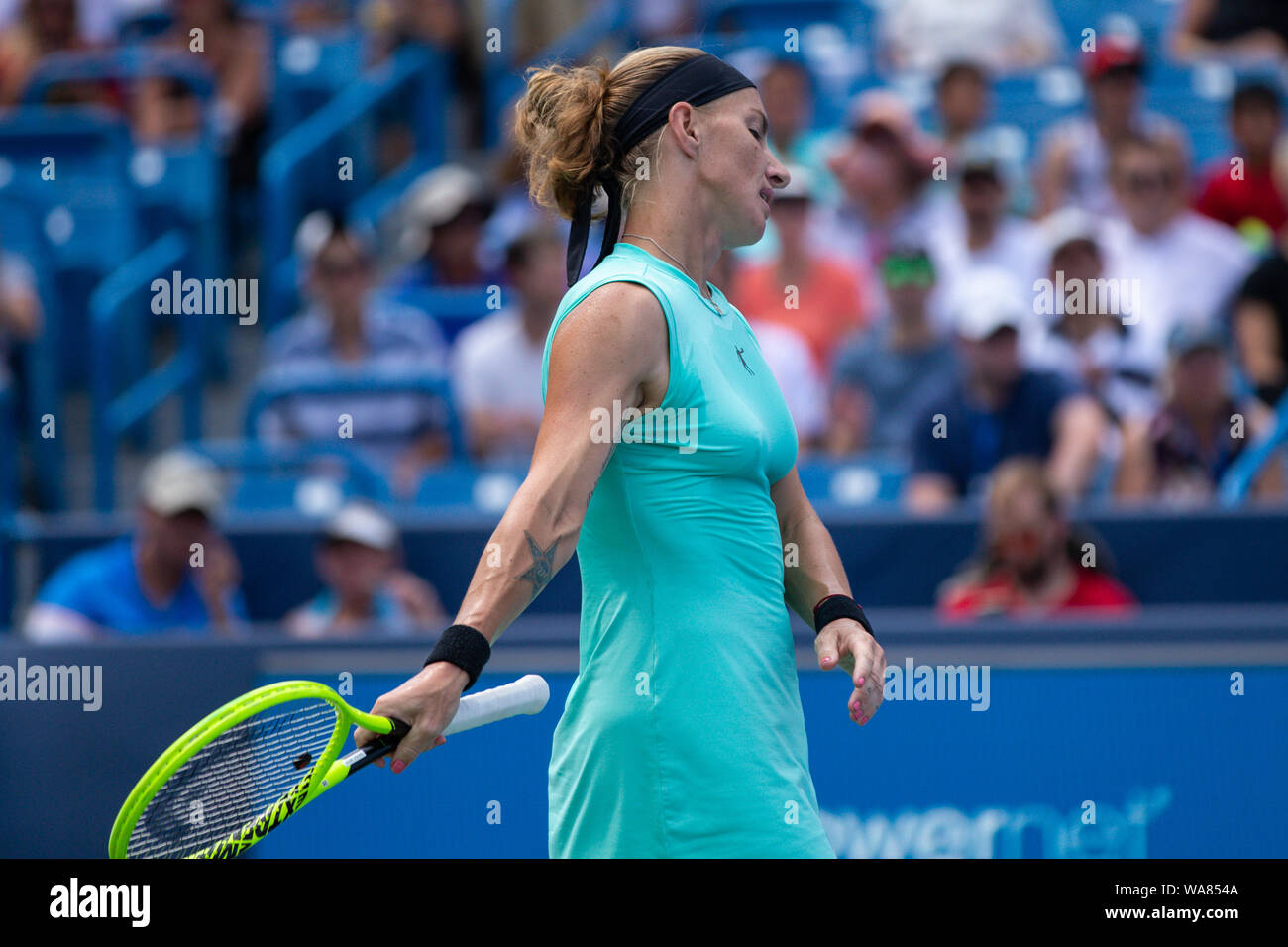 August 18, 2019, Mason, Ohio, USA: Svetlana Kuznetsova (RUS) reacts to a shot during the Women's Final of the Western and Southern Open at the Lindner Family Tennis Center, Mason, Oh. (Credit Image: © Scott Stuart/ZUMA Wire) Stock Photo