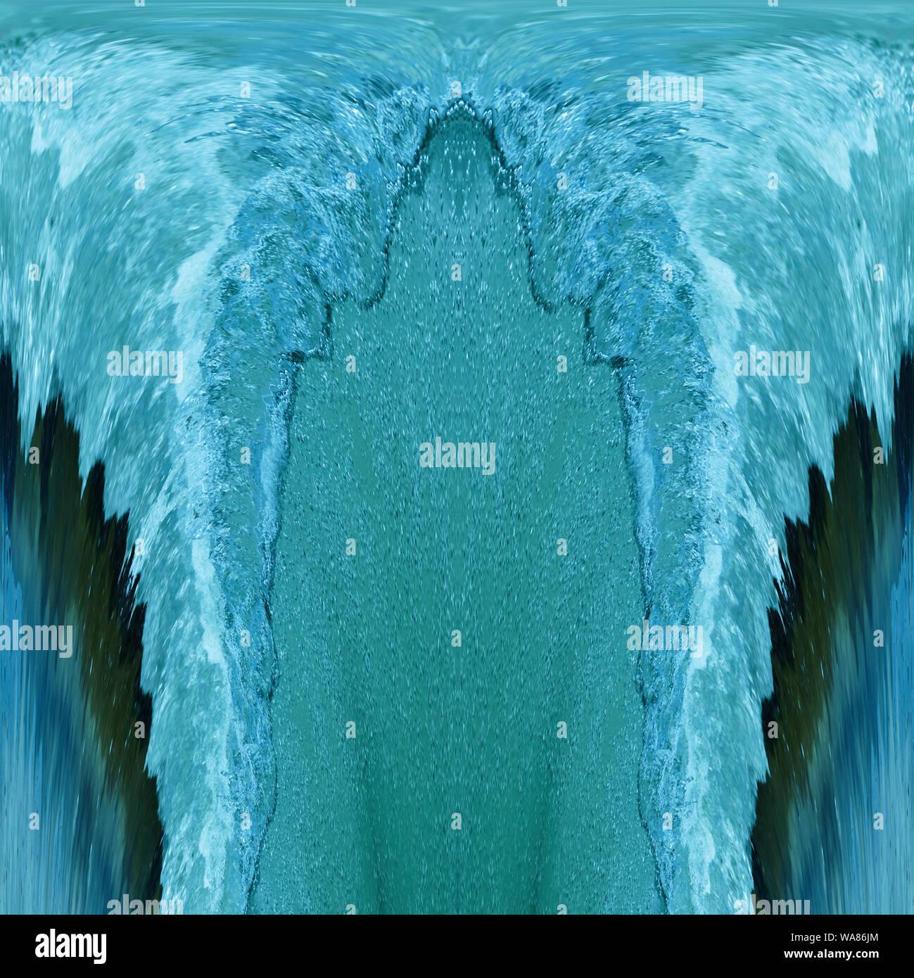 Wasser mit vielen kleinen Wasserblasen, sprudeln in türkis Stock Photo