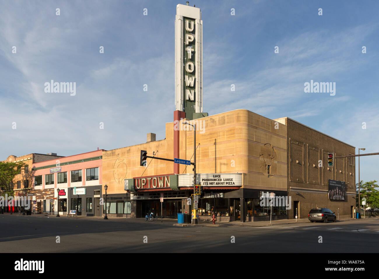 The Streamline Moderne Art Deco exterior of the 1939 Uptown Movie Theater in Minneapolis, Minnesota, USA Stock Photo