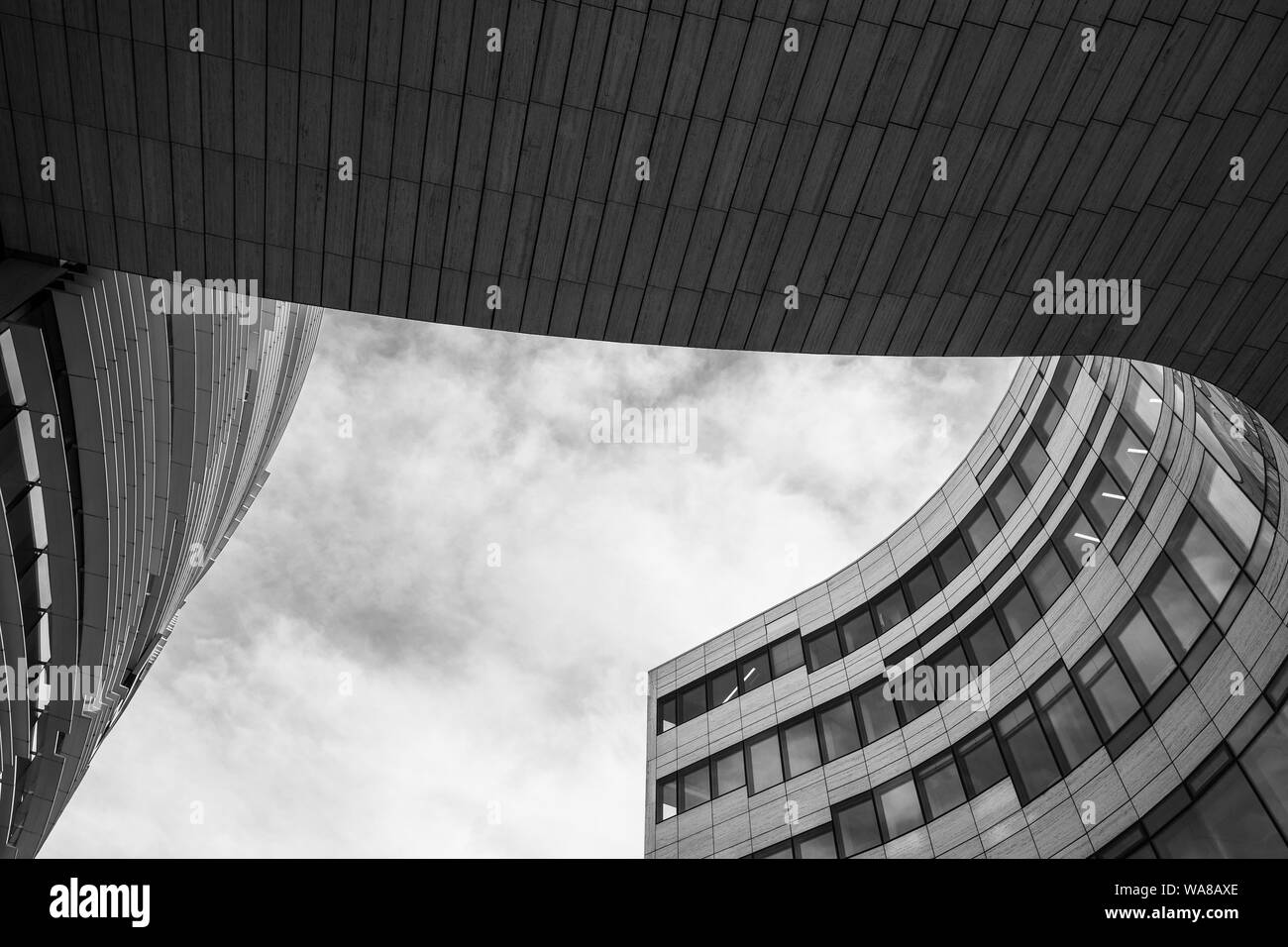 free form outline  Low angle view at plaza between 5 building with curvature ...