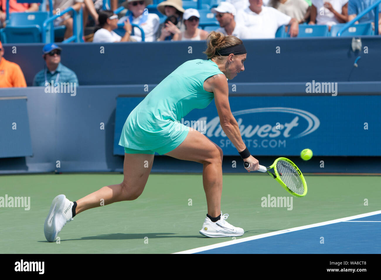 Cincinnati, OH, USA. 18th Aug, 2019. Western and Southern Open Tennis, Cincinnati, OH; August 10-19, 2019. Svetlana Kuznetsova plays a ball against opponent Madison Keys the Western and Southern Open Tennis tournament played in Cincinnati, OH. Keys won 7-5 7-6. August 18, 2019. Photo by Wally Nell/ZUMAPress Credit: Wally Nell/ZUMA Wire/Alamy Live News Stock Photo