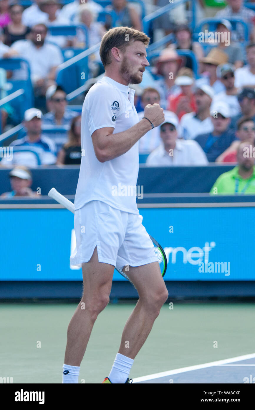 Cincinnati, OH, USA. 18th Aug, 2019. Western and Southern Open Tennis, Cincinnati, OH; August 10-19, 2019. David Goffin in action against Daniil Medvedev during the Western and Southern Open Tennis tournament played in Cincinnati, OH. Medvedev won 7-6 6-4. August 18, 2019. Photo by Wally Nell/ZUMAPress Credit: Wally Nell/ZUMA Wire/Alamy Live News Stock Photo