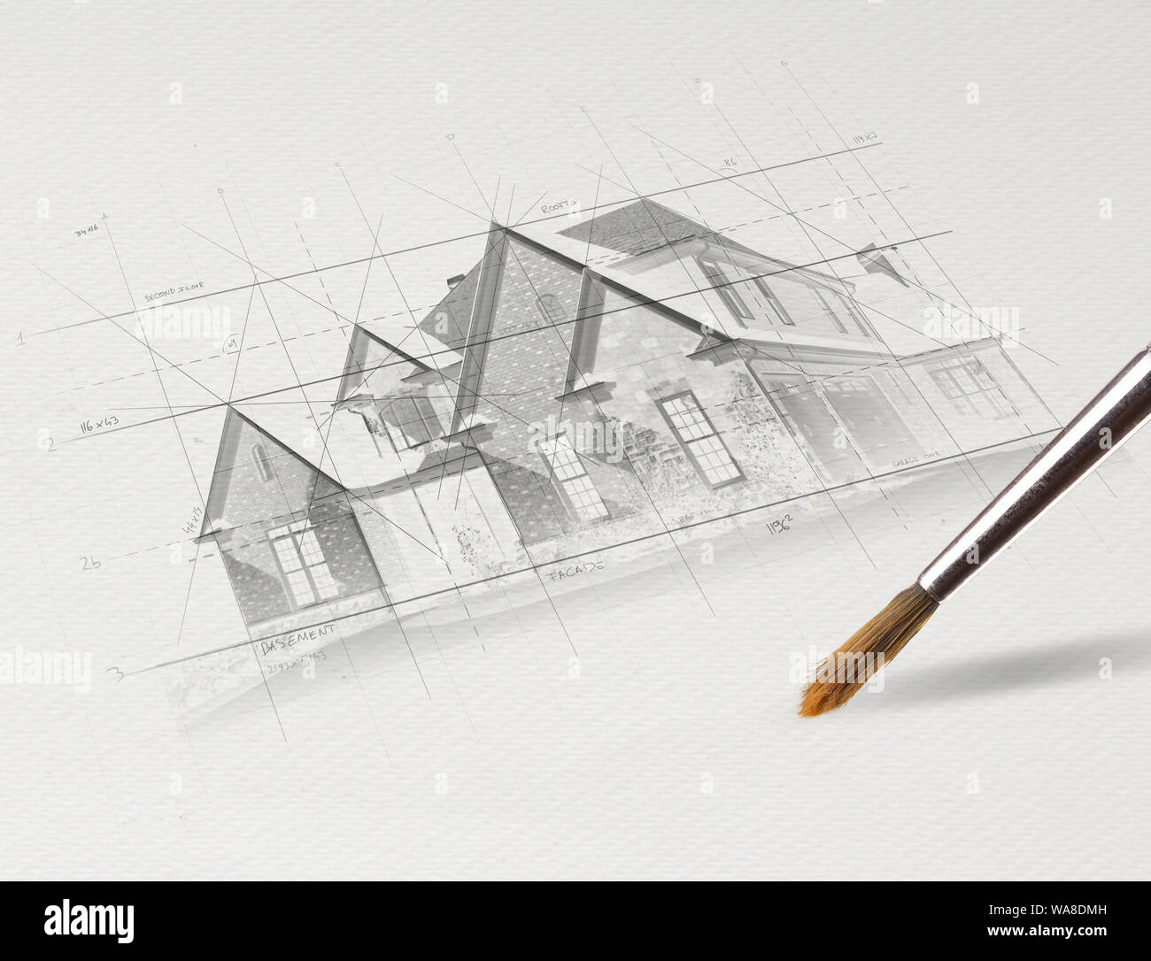 Drawing Colored House Plan Concept Stock Photo 264488465