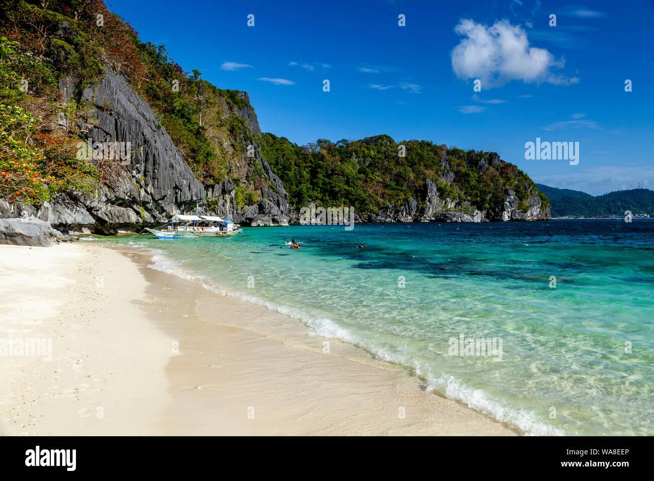 Paradise Beach El Nido Palawan The Philippines Stock