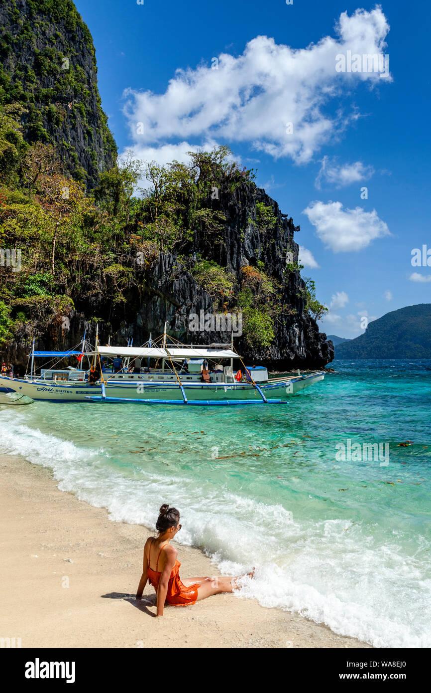 Serenity Beach El Nido Palawan The Philippines Stock