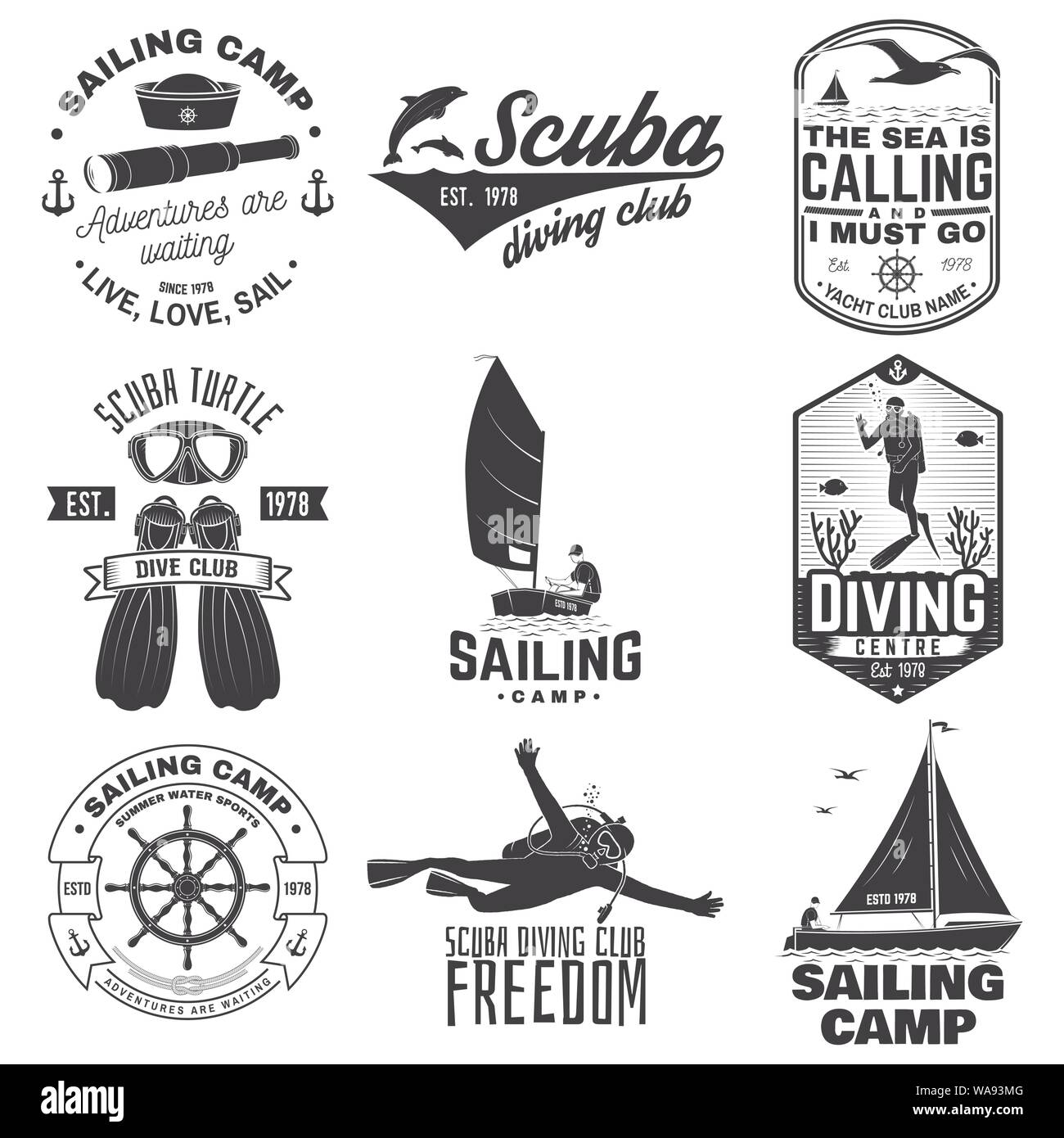 Set of sailing camp, yacht club and diving club badges