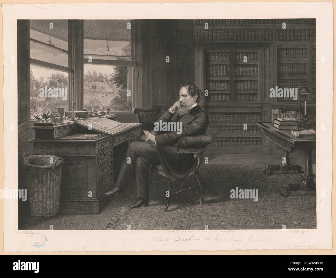 Charles Dickens in his study at Gadshill / S. Hollyer. Stock Photo