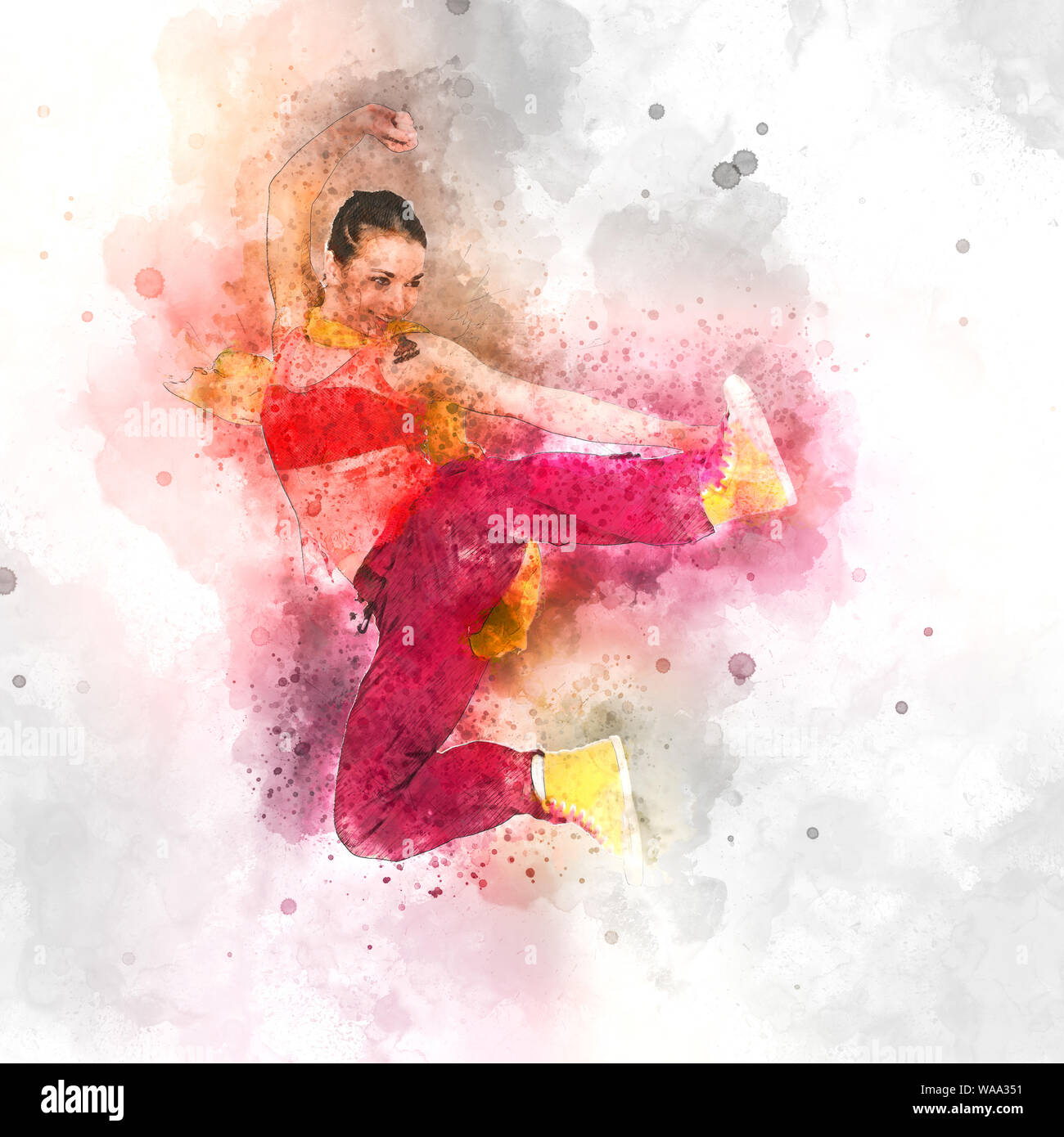 Digitally enhanced image of a Female Hip hop Dancer Stock Photo