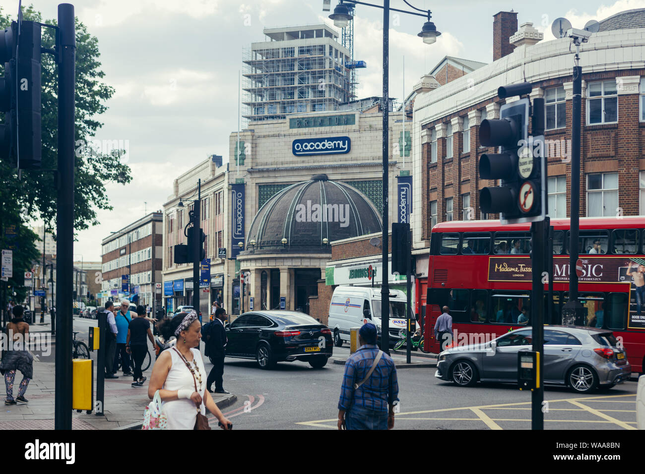 London/UK - July 16, 2019: The O2 Brixton Academy viewed from the Brixton Road. The O2 Academy is one of London's leading music venues, nightclubs and Stock Photo