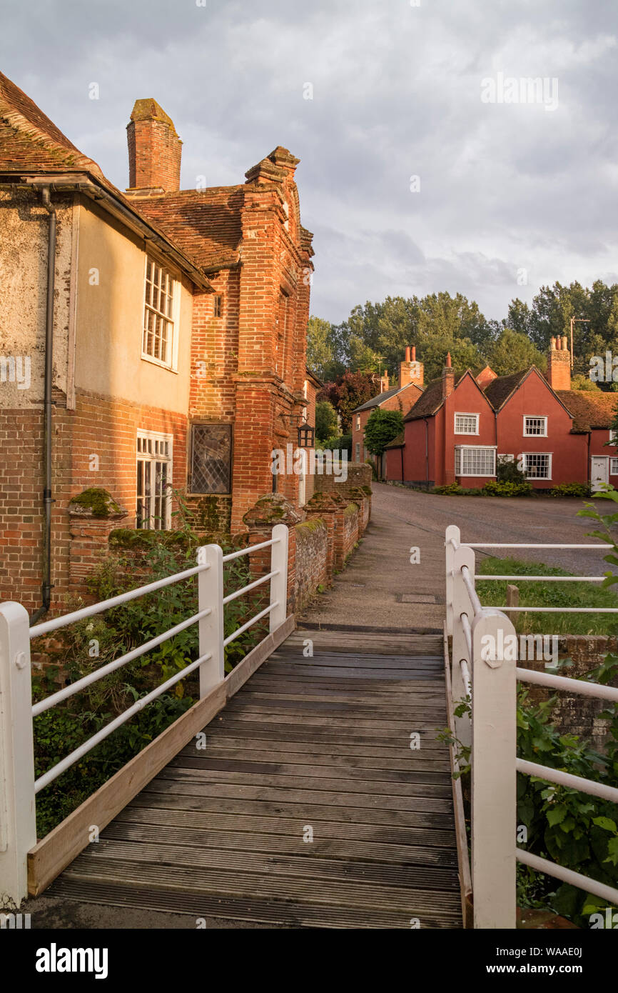 The picturesque timber-framed village of Kersey in evening light, Suffolk, England, UK Stock Photo