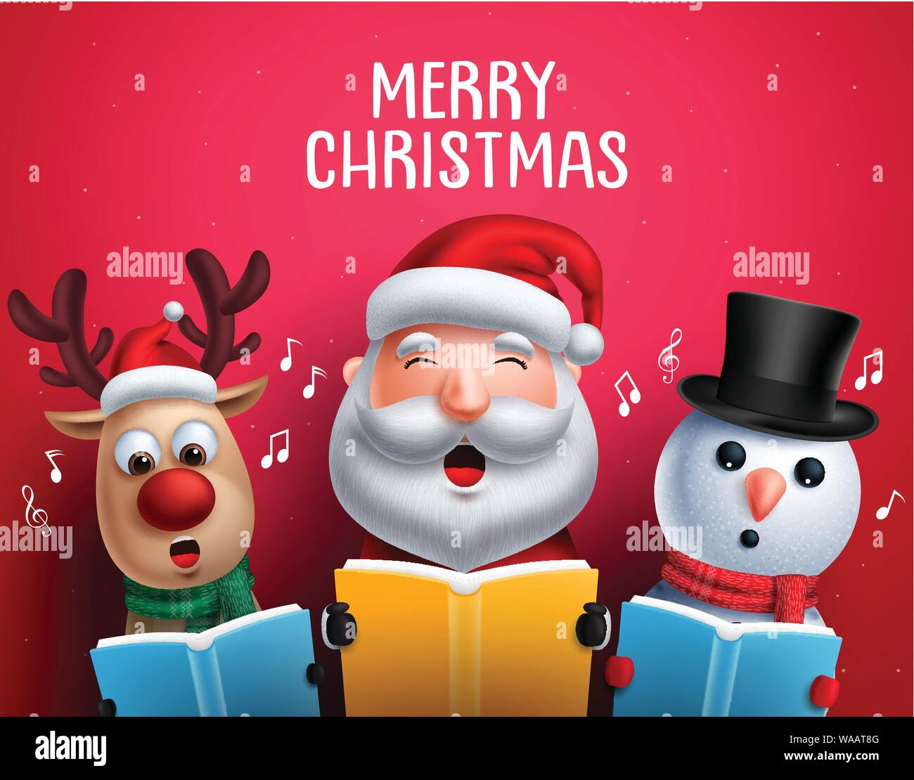 Christmas Singin.Christmas Vector Characters Like Santa Claus Reindeer And