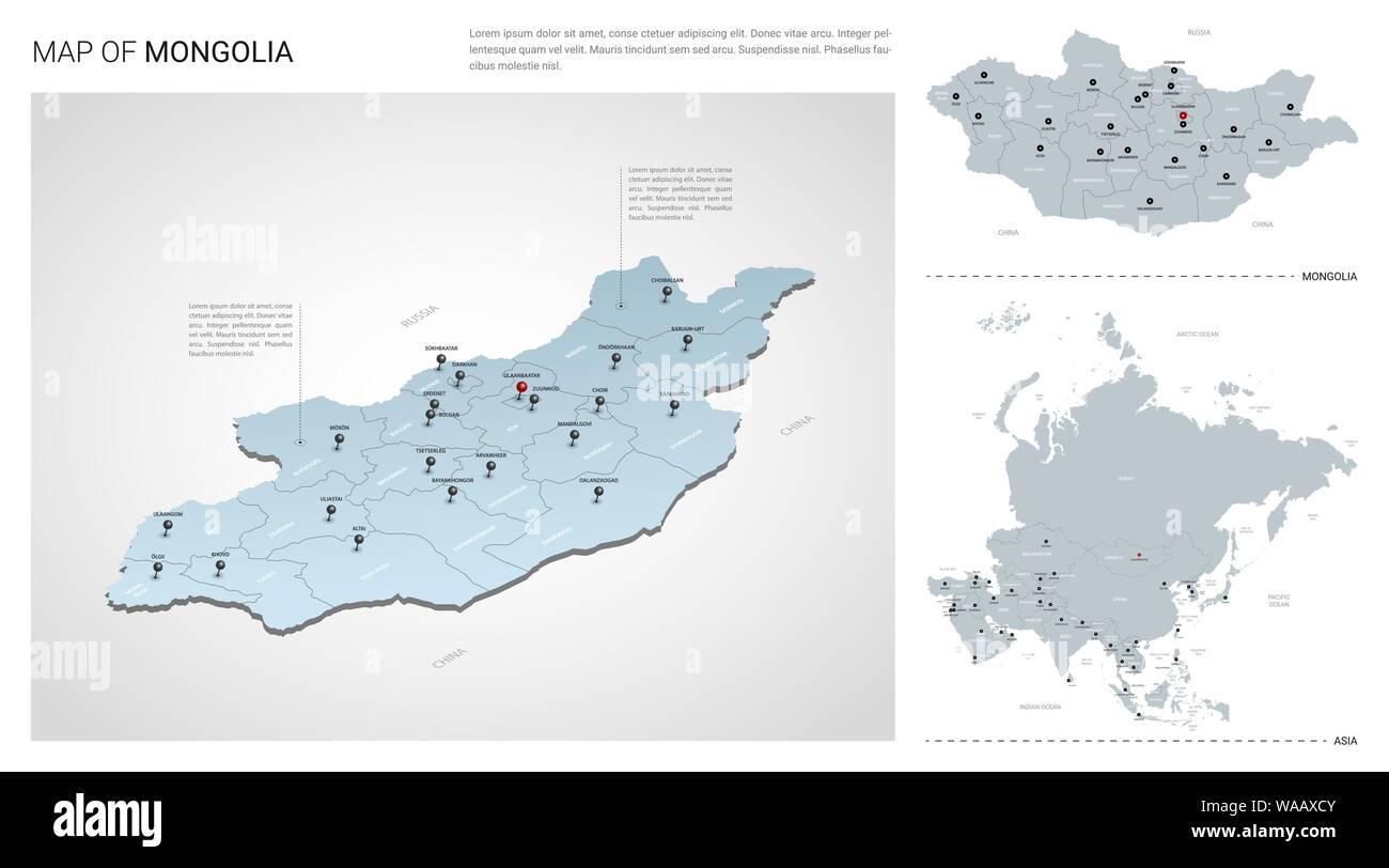Vector set of Mongolia country. Isometric 3d map, Mongolia ...