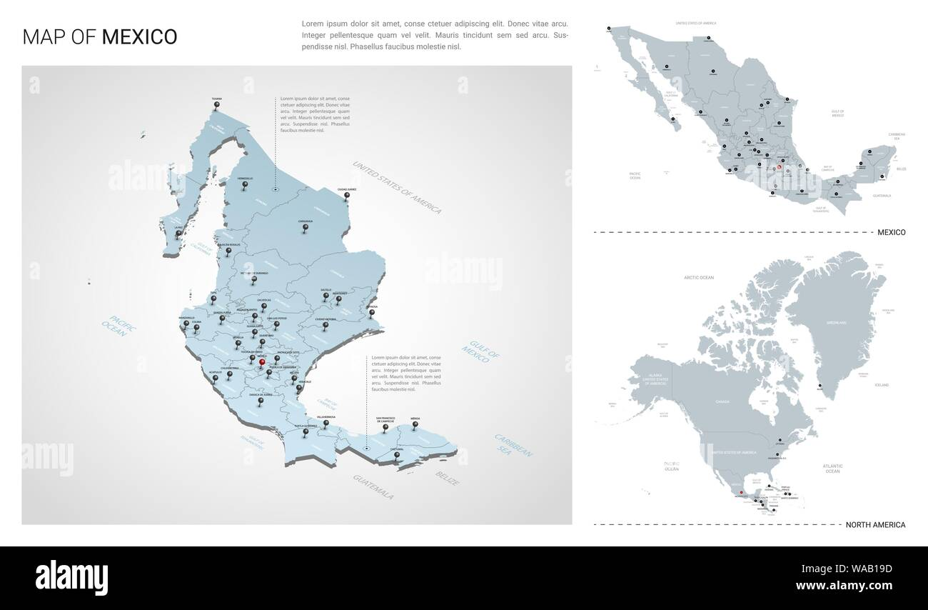 Map Of America 3d Vector.Vector Set Of Mexico Country Isometric 3d Map Mexico Map North