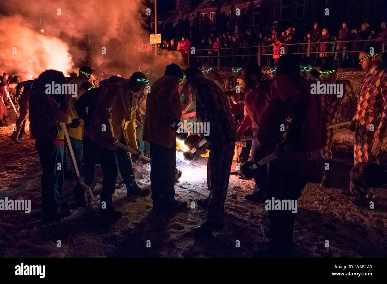 Lighting the torches at the 2019 Up Helly Aa festival on a snowy winter's night in Lerwick, Shetland Stock Photo