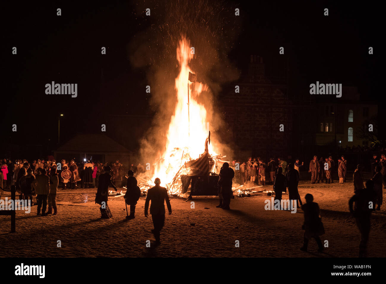 The burning of the galley at the spectacular 2019 Up Helly Aa festival in Lerwick, Shetland Stock Photo