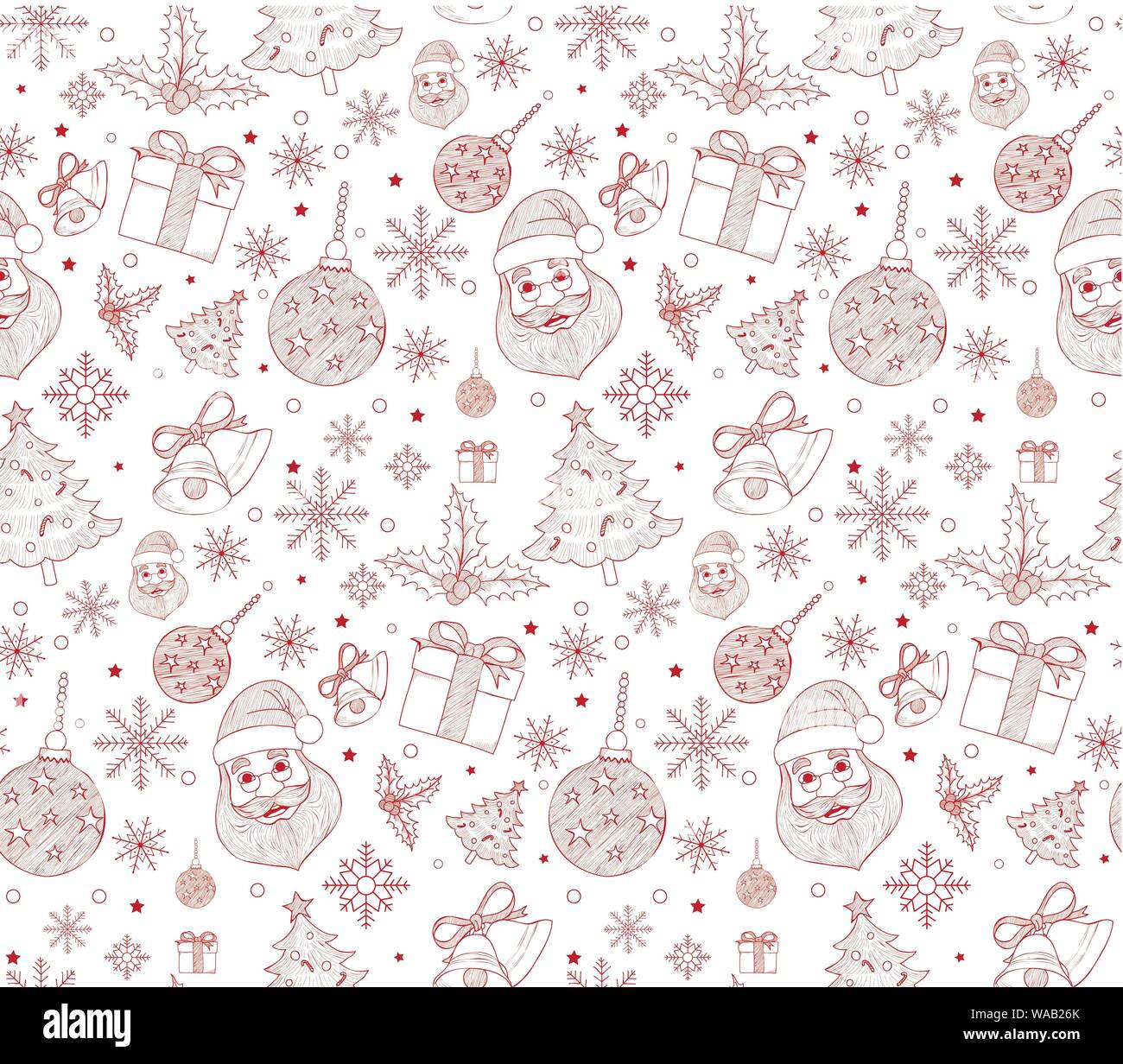Seamless Merry Christmas Pattern Of Line Drawings With Xmas Elements Continuous Vector Illustration Stock Vector Image Art Alamy