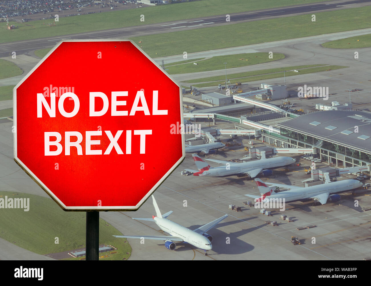 No Deal Brexit digital composite sign with high perspective