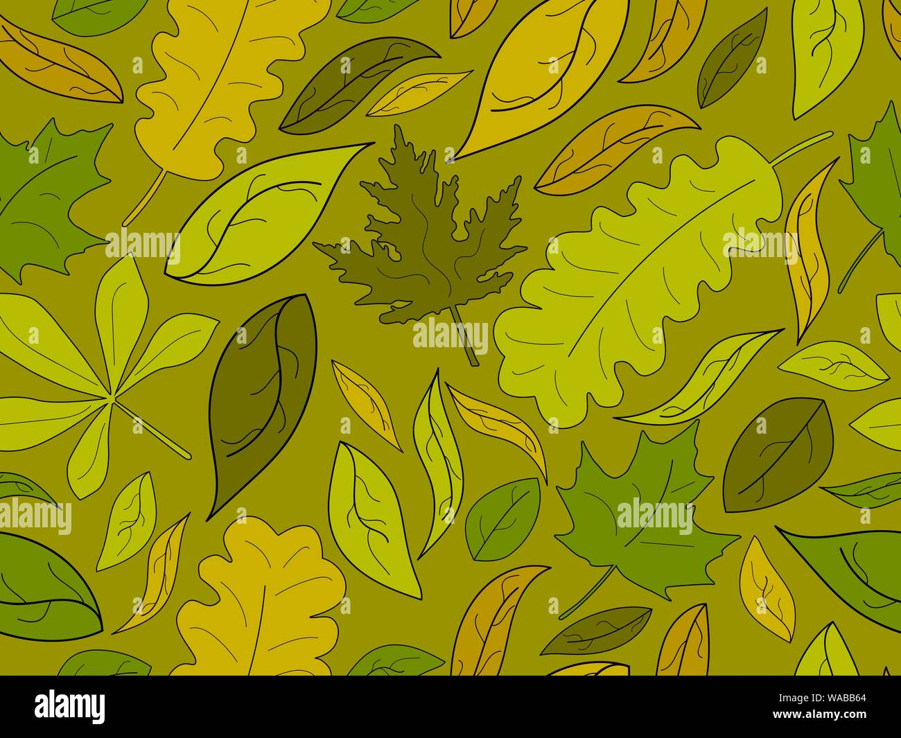 Autumn seamless pattern with leaves  Yellow falling leaves