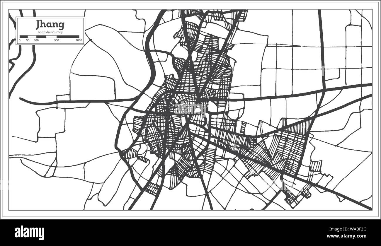 Jhang Pakistan City Map in Black and White Color  Vector