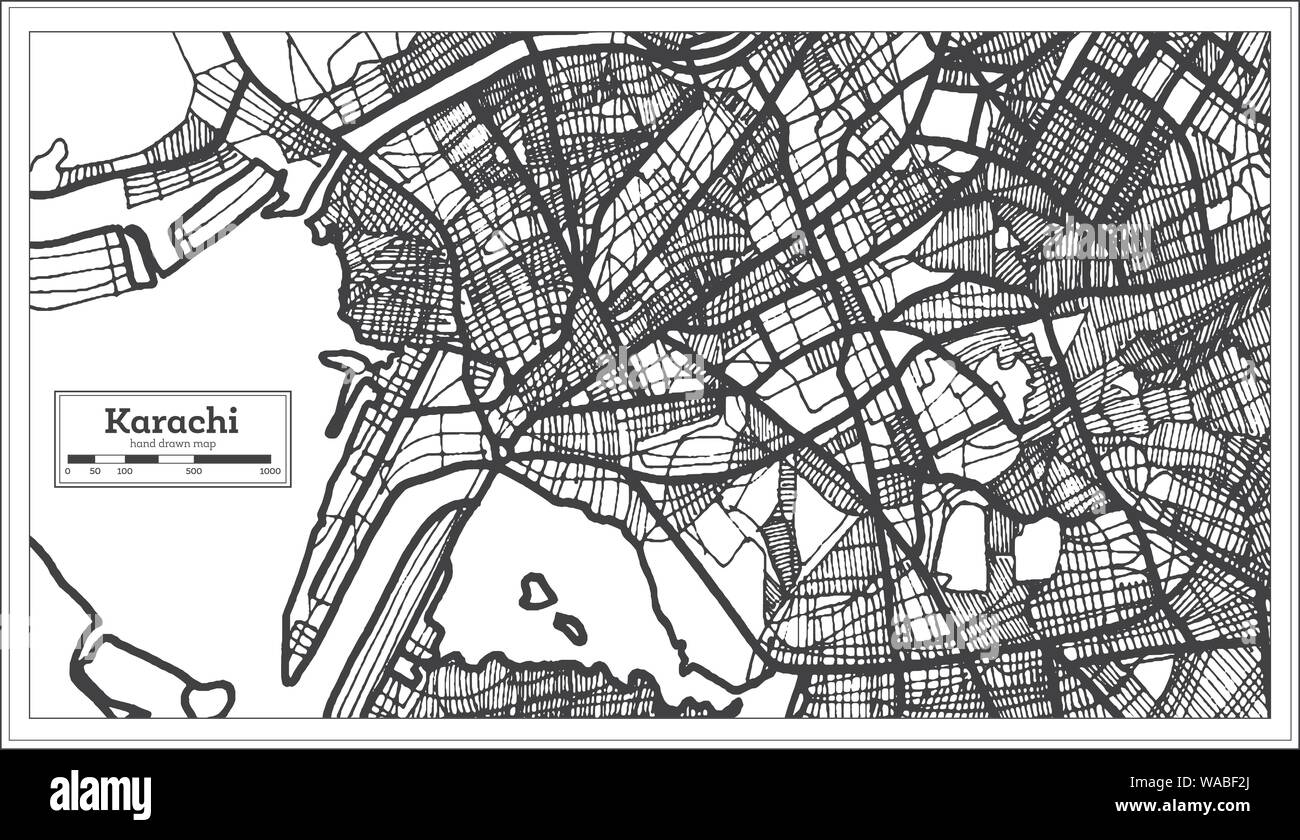 Karachi Pakistan City Map in Black and White Color  Vector