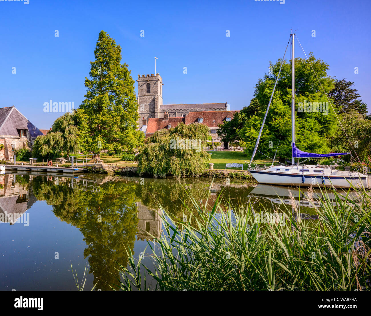 The Priory Hotel on the river Frome on Wareham, Dorset UK Stock Photo