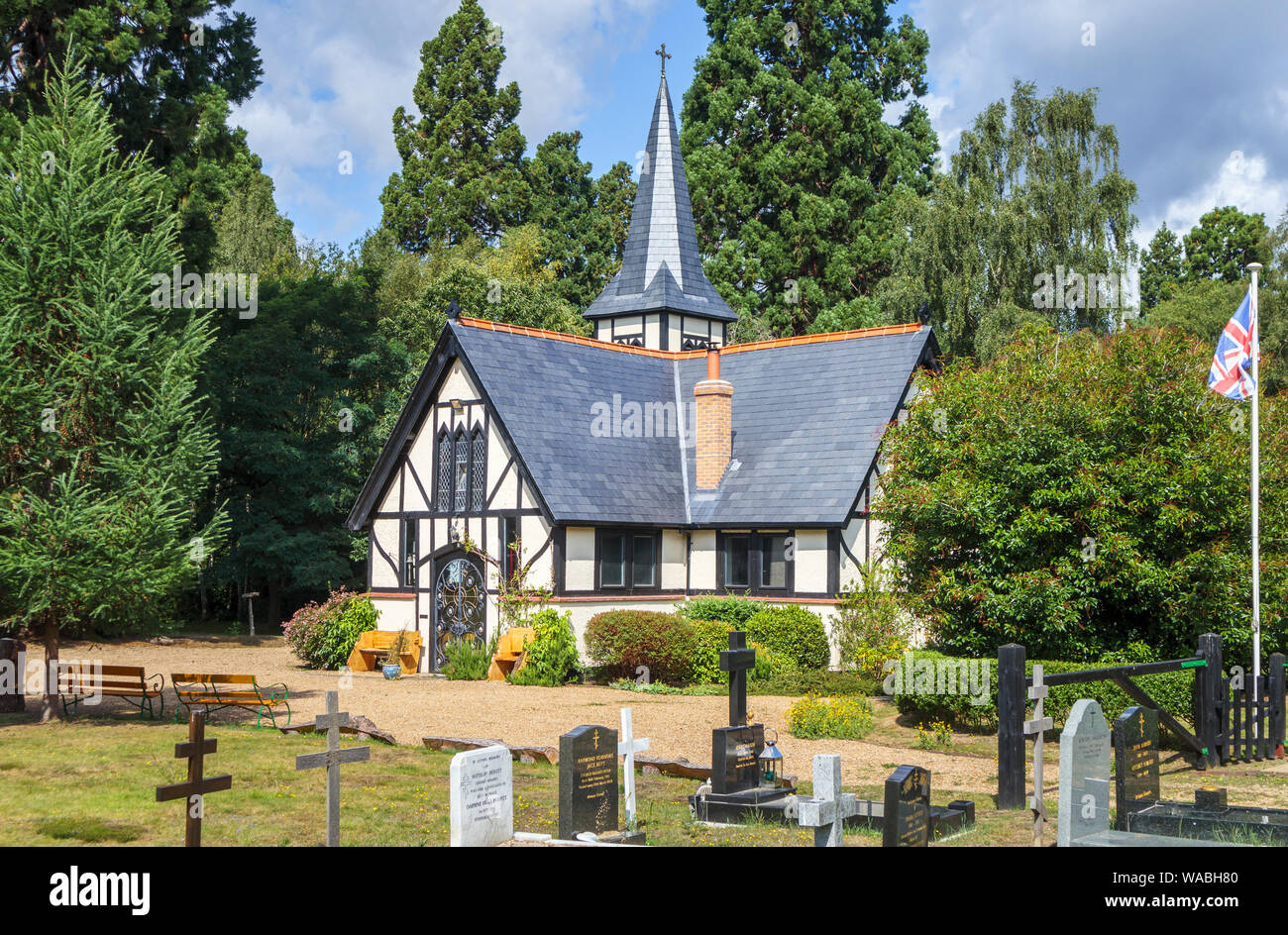 Exterior view of Orthodox Saint Edward Brotherhood monastery, Brookwood Cemetery, near Pirbright and Woking, Surrey, southeast England, on a sunny day Stock Photo