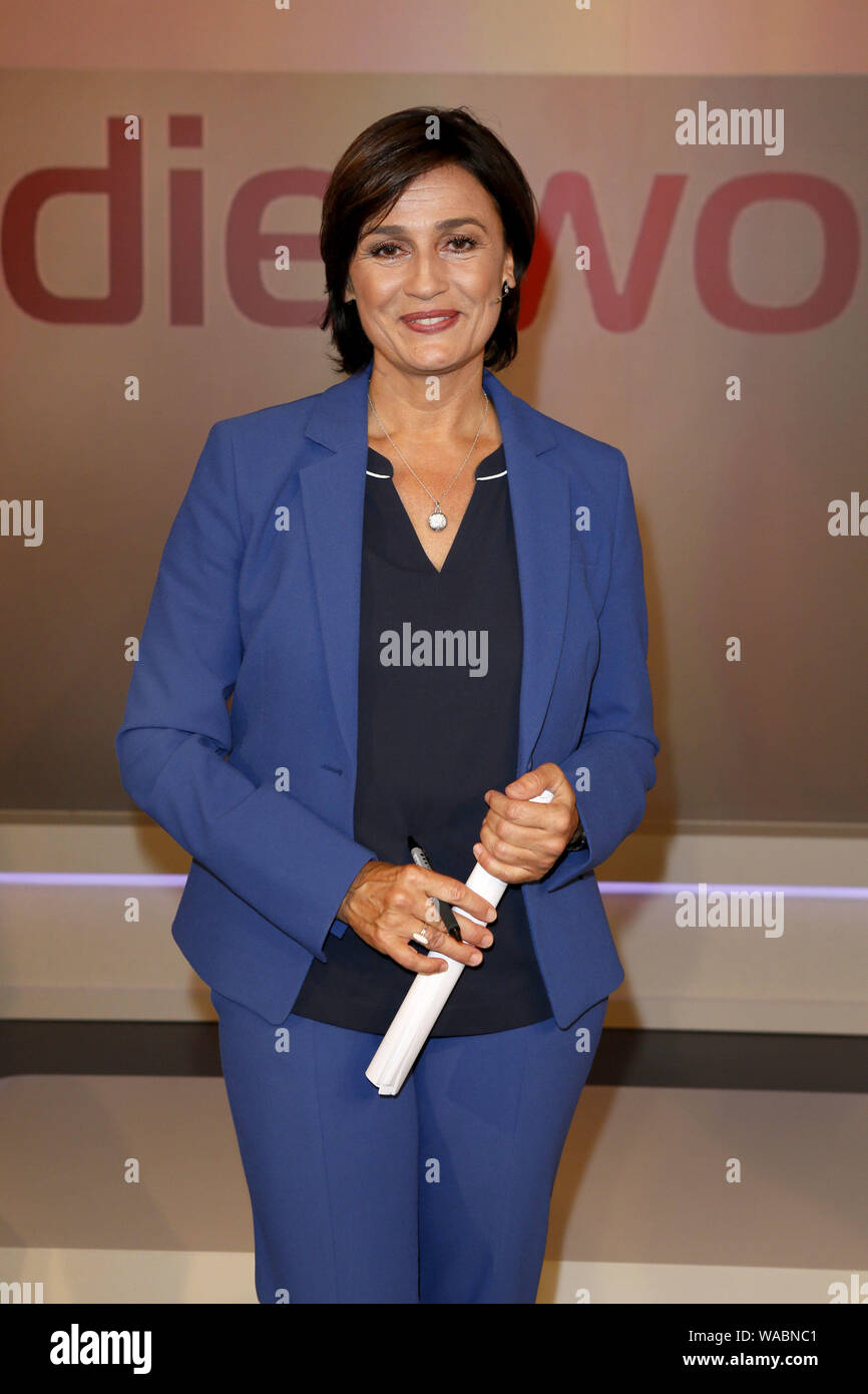 "Cologne, Germany. 14th Aug, 2019. Presenter Sandra Maischberger is at the WDR Studio for her talk show ""Maischberger - Die Woche"". Credit: asd/dpa/Alamy Live News Stock Photo"