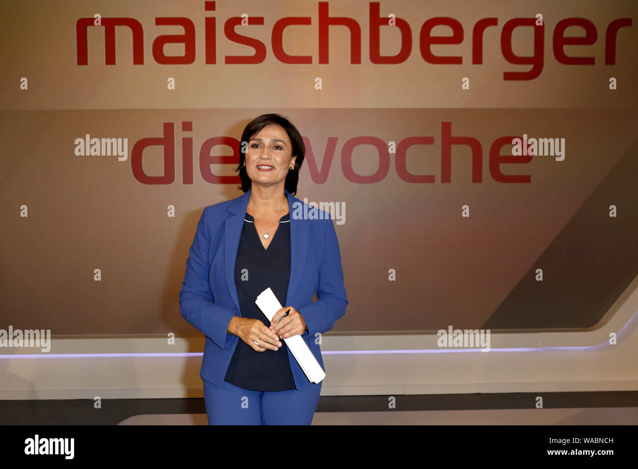 "14 August 2019, Germany (German), Cologne: Presenter Sandra Maischberger is at the WDR Studio for her talk show ""Maischberger - Die Woche"". Photo: asd Stock Photo"