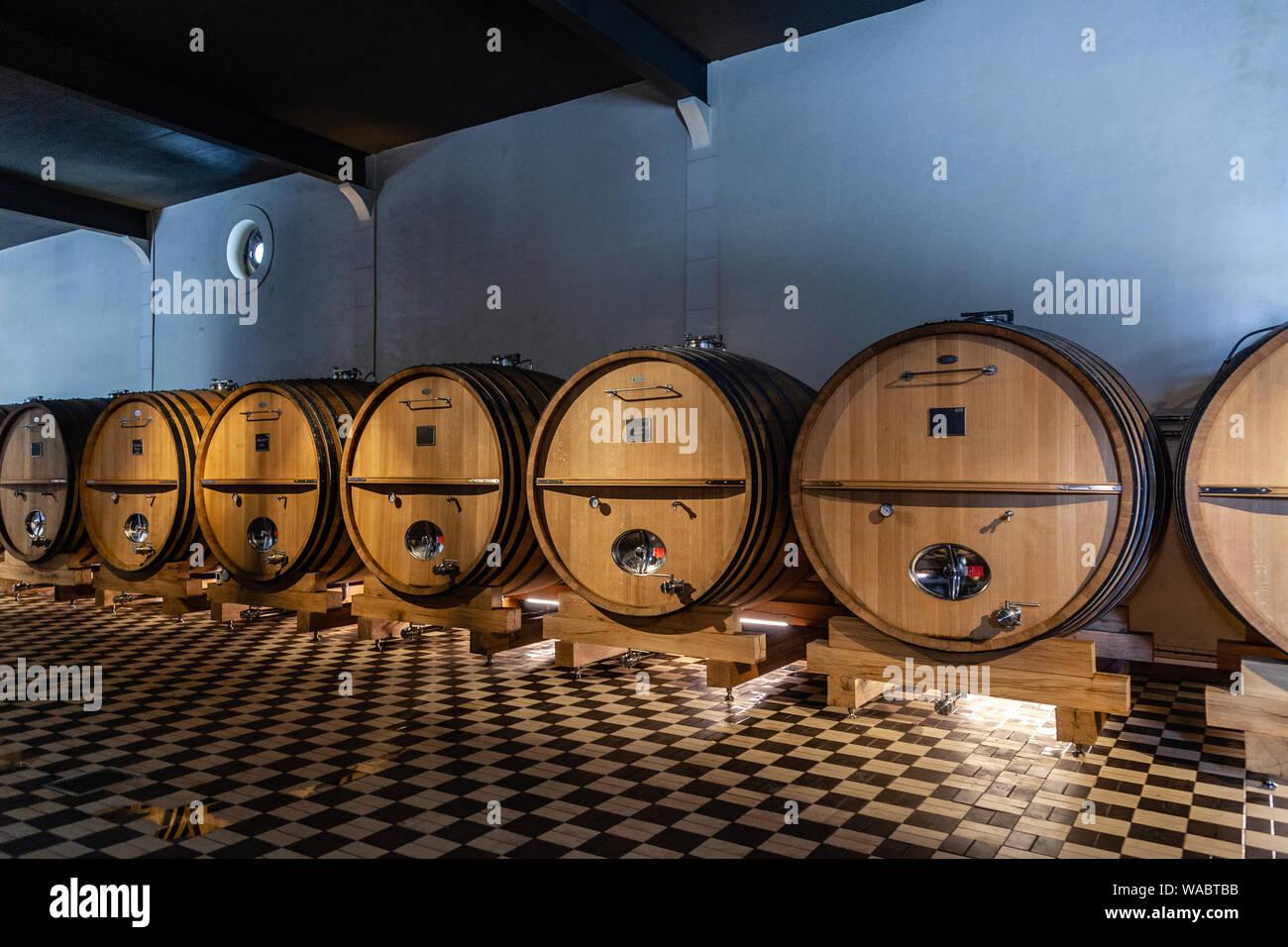 France Lyon 2019-06-21 rows giant wooden barrels, aging