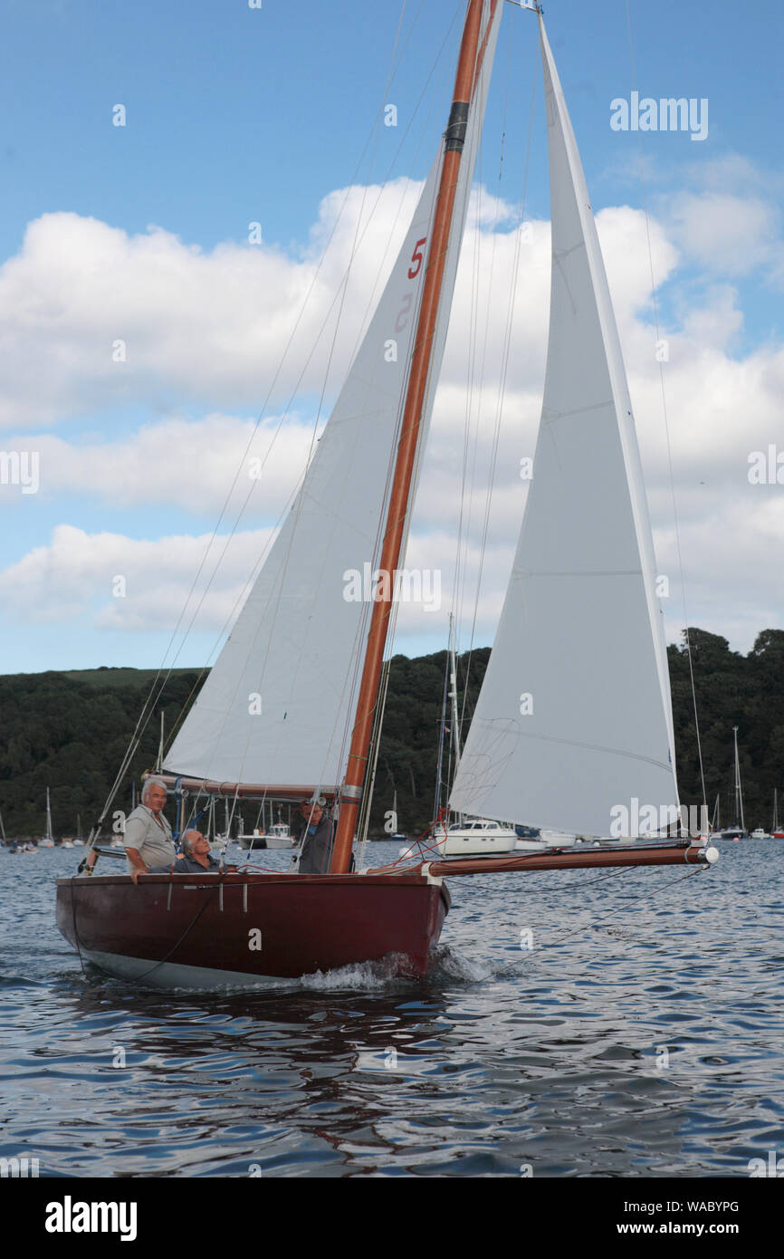 """Falmouth 18 ft Restricted Class, No.5, """"Francis"""" in the entrance to the Percuil River, St. Mawes, Cornwall, UK Stock Photo"""